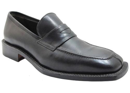 Fontiera Men's 2436 Slip on split moc toe Italian Loafers with strap in black