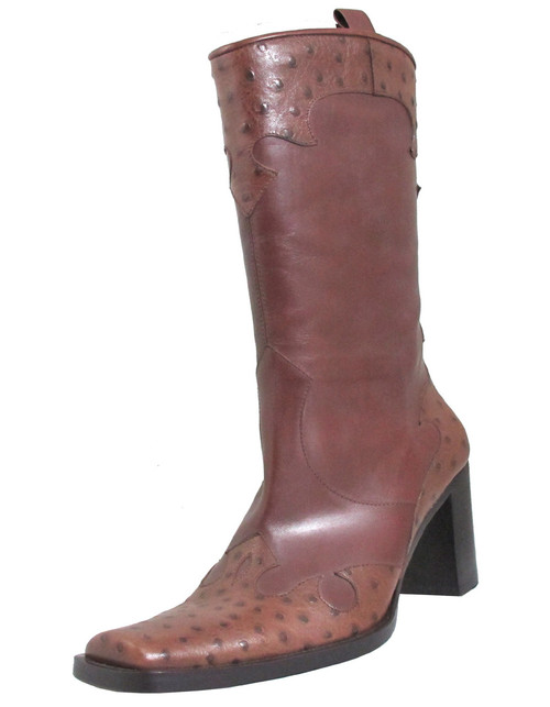 Via Spiga Women's WEST Square Toe Pull Up Ostrich Mid Calf Mid Heel Boots