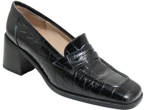 Georgio Pacini 7249 Leather Women's Square moc toe, Brown And Black Croc print