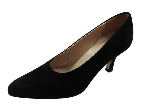 Davinci Women's 95335 Mid Heel Pointy Toe Pumps in Black Suede or Leather
