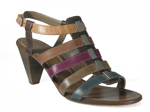 Davinci Women's Italian Leather Strappy Multicolor Mid Heel Sandal 3066