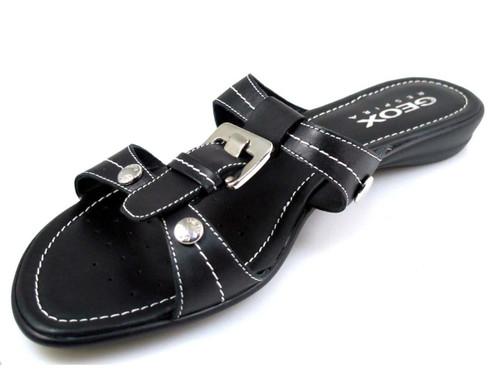Geox Women  Nada Slide Flat Sandal In White And Black