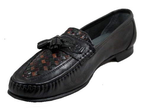 Via Veneto 1579 Men's Italian Casual Loafer Slip On woven with tassel