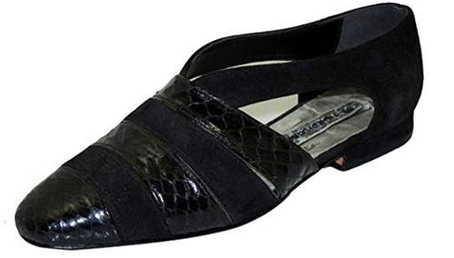 Fiordiluna Women's  Italian 703 Flat Shoes in Suede and Lizard