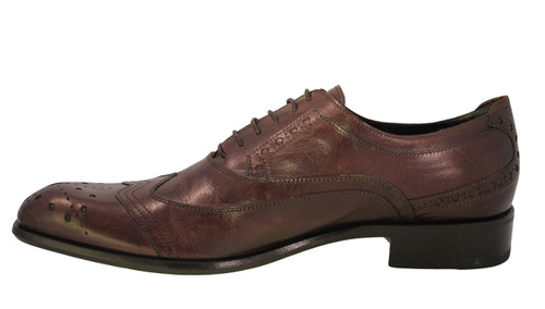 Redwood Men's Italian 6971 Oxford Lace Up Dressy Shoe Brown