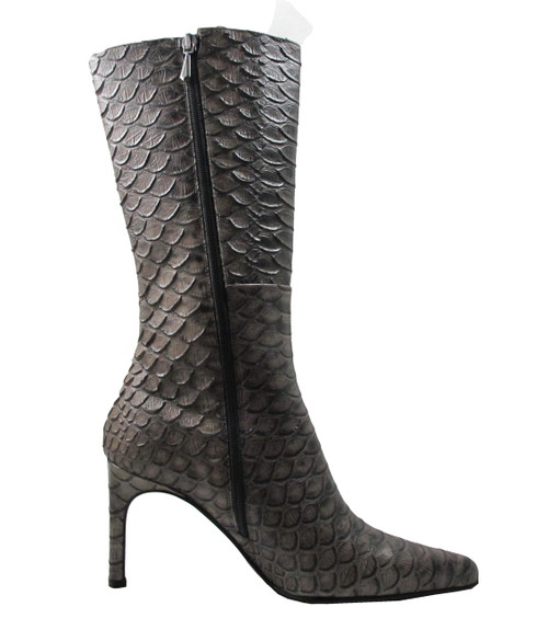 DA'VINCI 4051 Women's Italian Leather Python Print Dress/Casual Low Heel Pointy Toe in Taupe Snake Skin Zipper