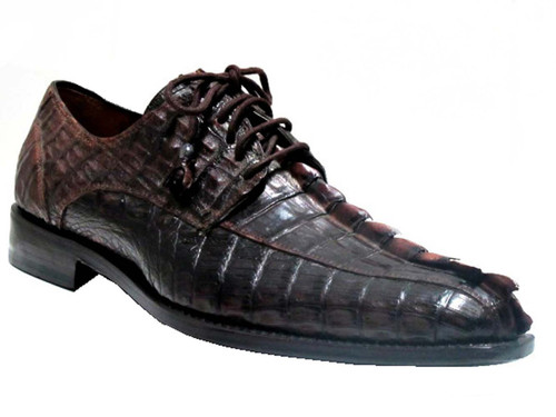 Men's Toscana 6241 Alligator Horn Back Lace up Shoes ,black and brown
