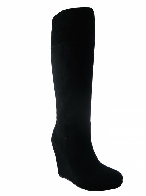 Women's Luciano Barachini  Dressy Italian Wedge Knee High Suede Boot12562 Black