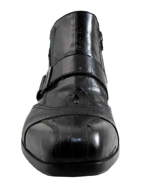 Gianfranco Butteri Men's Italian Leather Designer Eel/Lizard Boots 21403 Black and Brown