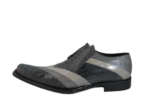 Mauri Men's 44168 Dressy Ostrich Leg Medium Grey Lace up Shoes