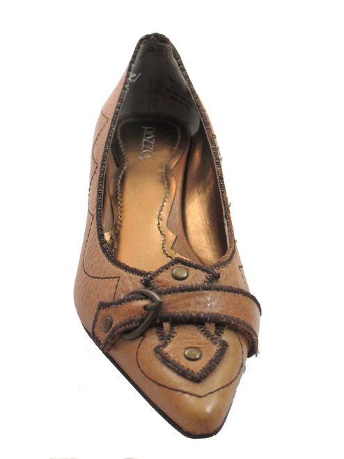 Pazzo Women Low Heel Pointy shoes Pump Merlot Black And Light Brown