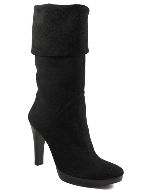 Women's Julie Dee Mid Calf  Italian Boots Suede 1007 Black and Purple