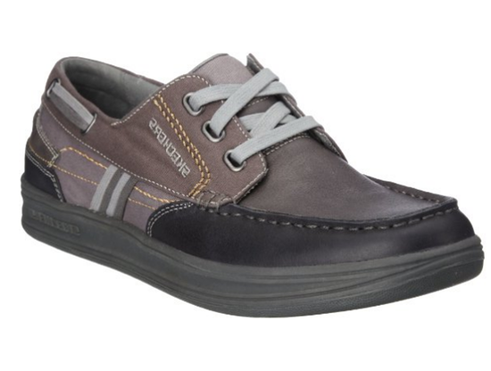 Skechers Slip on lace up Boat Shoes 62557 Taris Maggio Grey/White