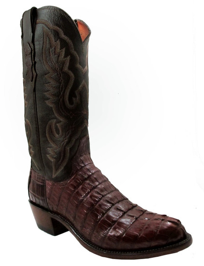 Lucchese Men's 1883 N1106.R4 Hornback Caiman Tail  Cigar Brown