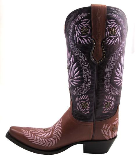 Women's Lucchese 1883 M4836 Ornamental Laurel Leaf Cognac/Purple Cowgirl Boots