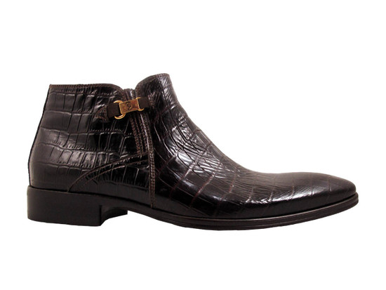 Men's Italian Giampero Ankle Boots 1422 Alligator Skin in Black, Brown