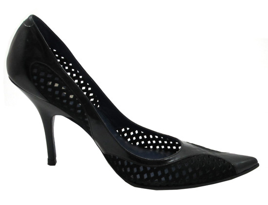 Pura Lopez 942 Women's Perforated Mesh Mid Heel Pump, Black