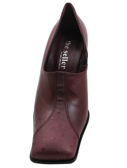 The Seller 525 Square Toe Ostrich Mid Heel Pumps in Bordo