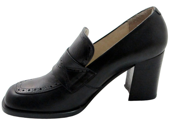 Spiral 5962 Women's square toe  mid heel italian pumps in black