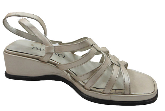 Davinci Tp138 Strappy Low Wedge Italian Sandals In Bronze, Ivory And Black