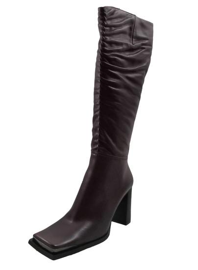 DA'VINCI 66228 Women's Square Toe Knee-high Heel Boots, Plum