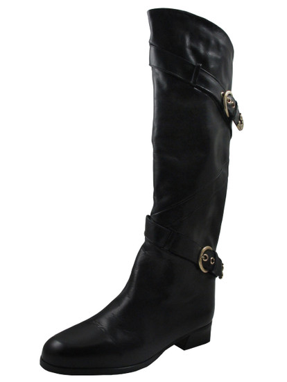 Laura Women's 310 Knee Hi Italian Leather boots with buckle in Black