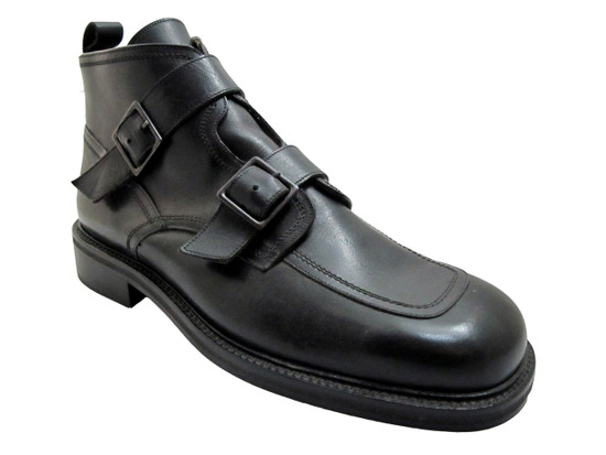 Smith 21206 Men's Italian Leather with Two straps Ankle Boot Black