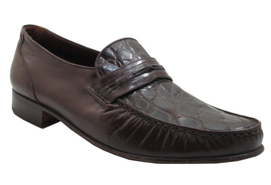 Via Veneto Men's 9998 Crocodile Italian Slip On Loafer Brown