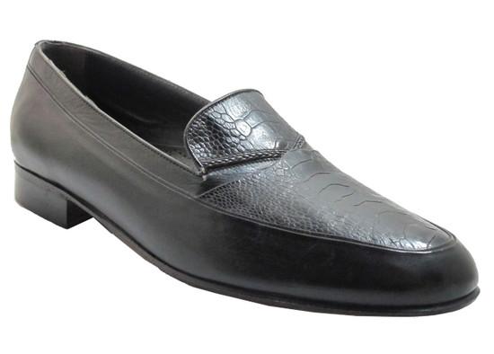 Via Veneto Men's 9334 Italian Moc Toe Slip On Ostrich Leg Loafer in Black