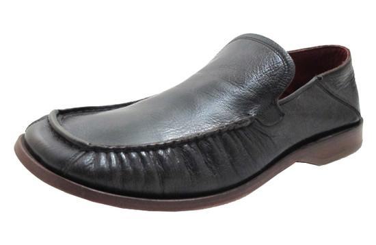 Wots Men's 3361 Italian Leather slip on crinkle moc toe loafers in black
