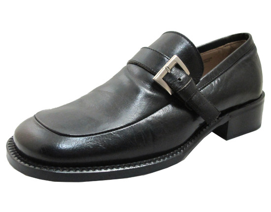 Tiverton & Co Men's 2217 Moc Toe Italian Monk strap with Buckle in Black