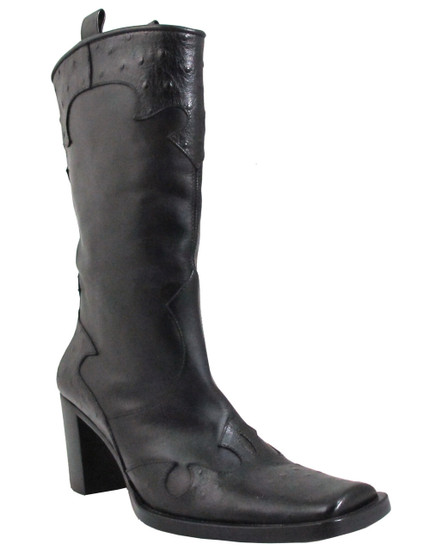 Via Spiga Women's WEST Square Toe Pull Up Ostrich boot