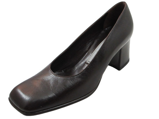 Alberto Zago 1554 Women's Square Toe Mid Heel Pumps in Black