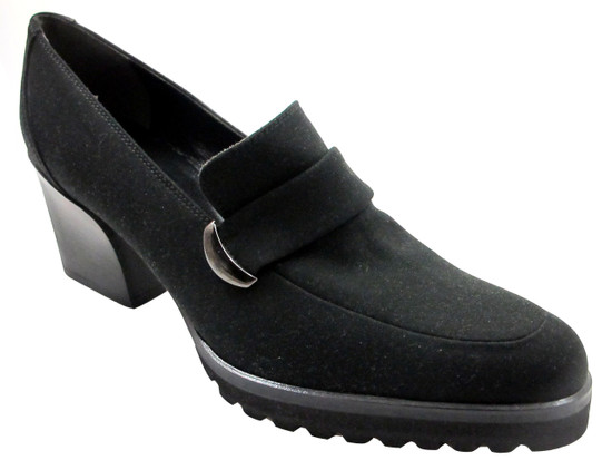 Antares 16603 Women's Italian Mid Heel Textile slip on Chunky Shoes