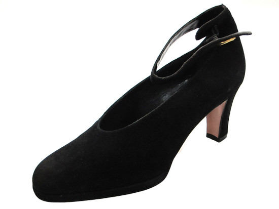 Caiman Women's 4304 Ankle Strap Mid Heel Shoes in Suede Black