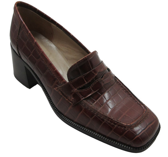 Georgio Pacini 7249 Leather Women's Square moc toe, Brown And Black Croc print