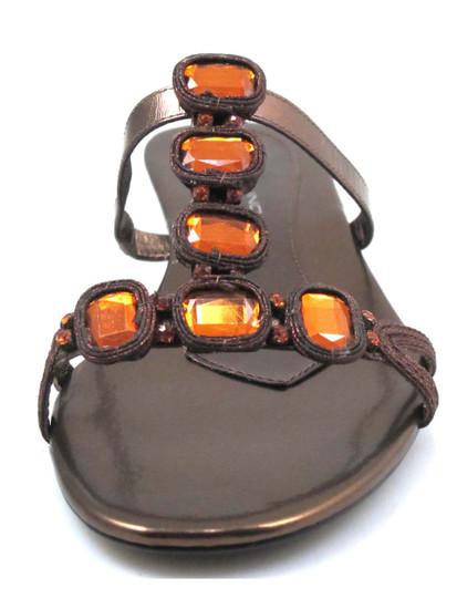 Bandolino Rosalie Women's Slip On Sandals With Stones In Brown