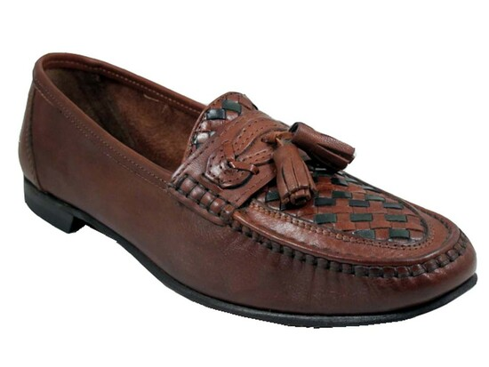 Via Veneto 1579 Men's Italian Casual Loafer Slip On woven with tassel