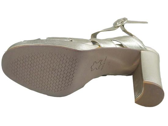 Davinci Women 507 Mid heel strappy sandals in Light Gold
