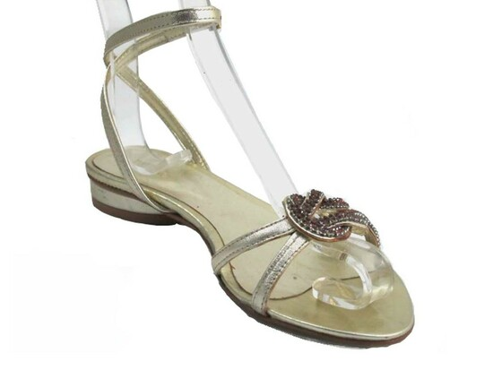 Davinci 937 Women's Flat Dressy Ankle Strap sandal in Gold with stones