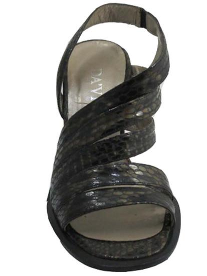 Davinci F89 Women's Strappy Sandal snake skin in Black/Grey