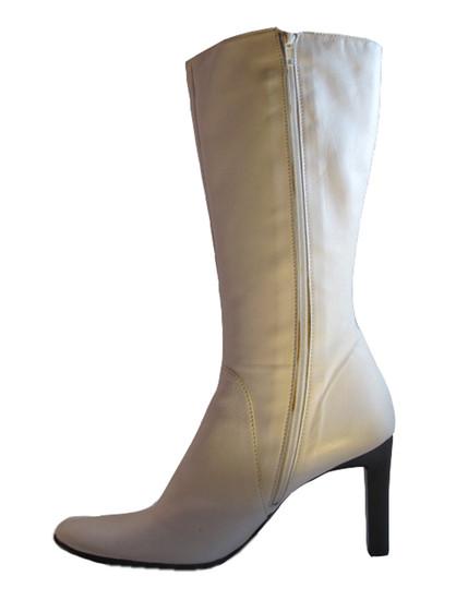 Davinci Italian Women's Mid Calf high Heel Boots 4163 White