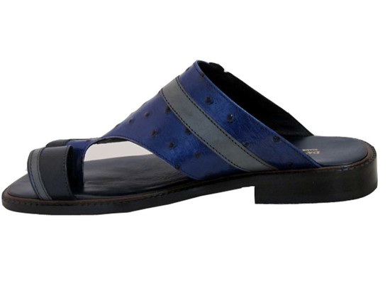 Davinci 3980 Men's Italian push In Toe Ostrich Leather Sandals Blue