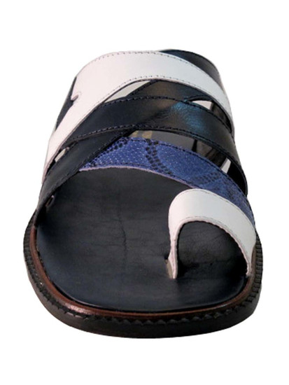 Davinci 3839 Men's Push In Toe Italian leather Sandals, White/Blue