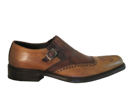 Doucal's Men's Italian Multi Color Brown Slip On Shoes with Side Buckle