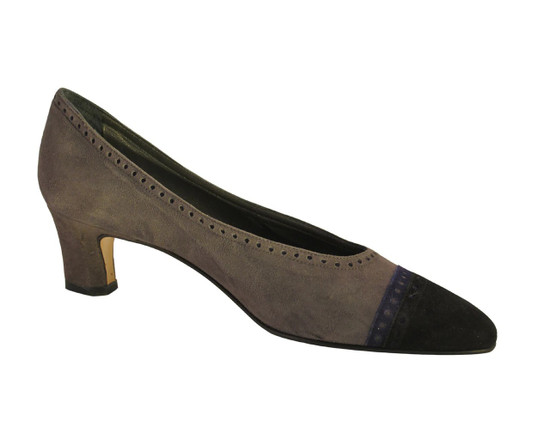 Mima Venezia Italian Women's 712 Low Heel Suede with Two Tone Pump