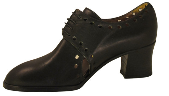 Smith 19304 Women's Lace Up Low Heel Black Shoes