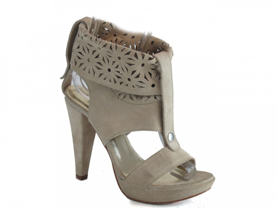 Women's Italian Leather Sandals High Heel Beige 3781