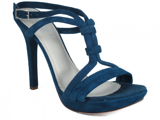 Women's Davinci Italian Dressy High Heel Leather Sandals Blue 3788