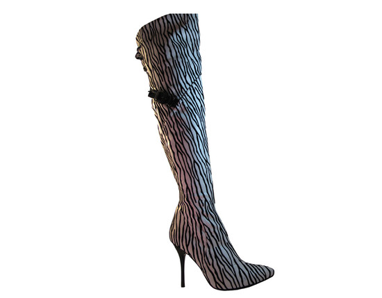 Dan Sara Women's Fabric Stretch Over The Knee High Heel Boots